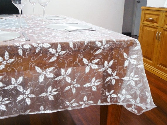 Christmas Tablecloth White and sparkly silver holly