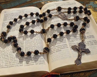 RESERVED for Freddie -  Heirloom Black Onyx Rosary with Bronze