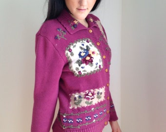 vintage sweater 1990s novelty cardigan boho retro purple burgundy floral 90s schoolgirl mori girl