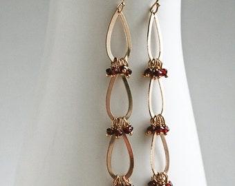 Long Garnet Earrings, Triple Teardrop,  Garnet Earrings, Fall Jewelry