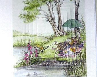 "Hand Crafted 3D Decoupage Card, Blank for any Occasion (1963) ""Gone Fishing"", Birthday Card, Dad Card, Fathers Day, Angler, Brother Card"
