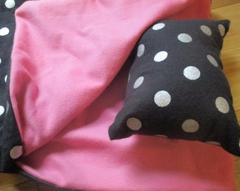 18 Inch Doll Sleeping Bag, black and pink doll bedding for 18 inch dolls