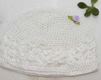 Baby infant crochet hat in white. Add an accent flower in favorite color More colors available.