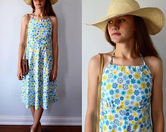 Vintage Halter Dress, 1970s Halter Dress, Casual Dress, Summer Dress, Custom Made Dress, Floral Dress