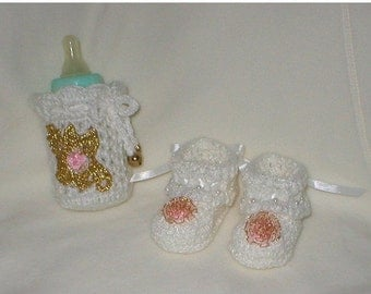 20% OFF SALE Crochet Baby 0-3 Mts 4 Oz. Bottle Cover White Beaded Gold Trim Pink Organza Roses Booties Gift Set