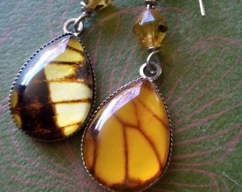 Butterfly wing earrings | faux | silver | dangle | mismatched earrings