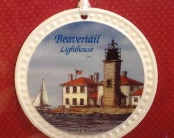 Christmas Ornament-Ceramic-Beavertail Lighthouse, Jamestown