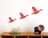 Vintage Wallpaper Flying Ducks - Red - Plywood Wall Hanging - Nursery Decoration