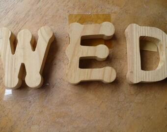 Wood Block Wedding Letters