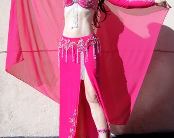 Professional Ameynra Belly Dance Costume Pink with SwarovskiI, Size S, New, OOAK