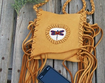 Fringed phone bag with dragonfly totem , Crossbody bag , Leather handbag, Small leather phone bag