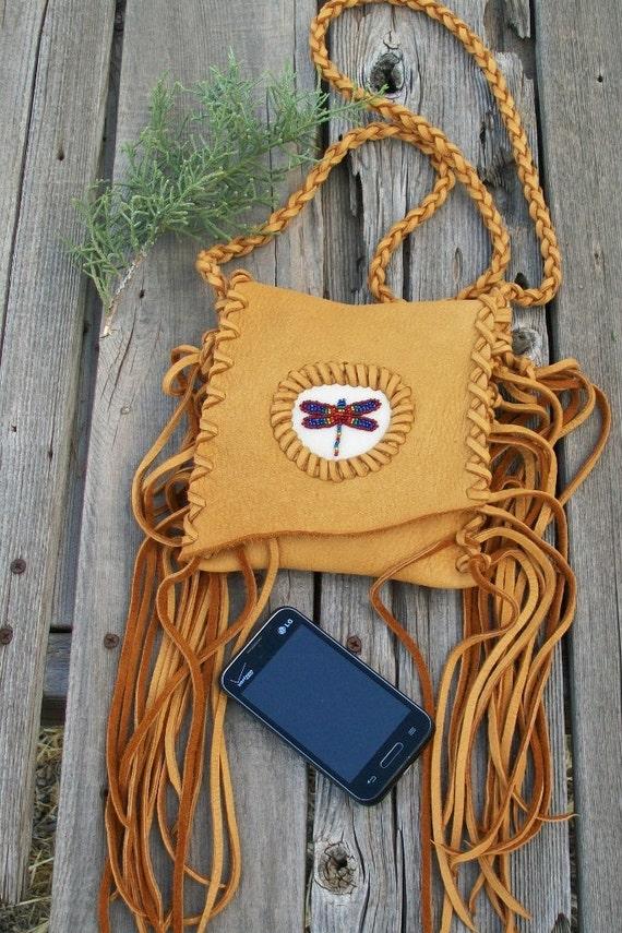 Fringed phone bag with dragonfly totem , Crossbody bag , Leather handbag