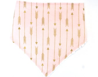 Baby Girl Bandana Drool Bib- Pink and Gold Arrows, Aztec Feathers, Arizona Feathers- Gender Neutral Baby Bib