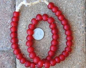 Ghana Glass Beads: Red 11x12mm