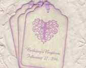 Girl Christening Baptism First Holy Communion Favor Tags, Personalized Lavender Tags, Baby Religious Cross Tags - Vintage Style Set Of 20