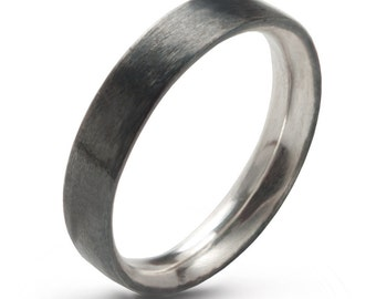Man Silver Wedding Band Comfort Fit , Hand Forged 4 mm x 2 mm Sterling Silver Ring Oxidized  ,Simple Sterling Silver Minimalist Unisex Ring