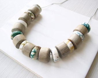 Statement Necklace - Wood Anniversary Gift, Semi Precious Gemstone Jewelry, Agate, Grey Brown, Green, Ivory, Mustard Yellow, Teal, Boho