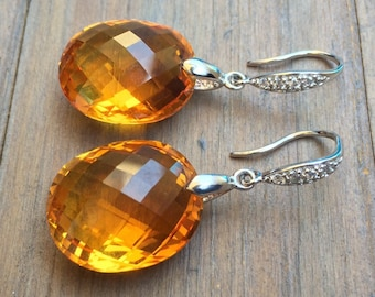 Citrine Earrings. Pave sterling silver. Big stones. Luxury jewelry
