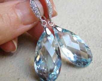 Luxury Sky Blue Topaz Teardrops Pave Sterling Silver Earrings