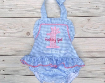 Birthday bathing suit, Monogram swimsuit, bathing suit, Baby Girls One piece ruffle swimsuit with SNAPS in CROTCH Boutique handmade