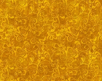 Gold Scroll Blender - In Bloom by Dan Morris for Quilting Treasures - Full or Half Yard Amber Tonal Scroll Blender