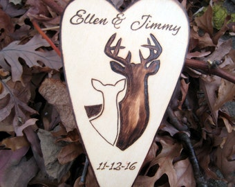 Buck and Doe Wedding Cake Topper, Rustic Deer Wedding, Black and White, Natural, Woodland Wedding, Wood Heart Cake Topper, Personalized Cake