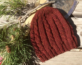 Men's Cable Knit Beanie, Men's Knit Hat, Knitting Hat, Knitting Beanie, Cable Knit Hat, Cable and Rib Knit, Chili Pepper Red, Dark Orange