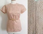 Vintage 50s / Shell Pink / Gold Starburst / Short Sleeve / Metal Zipper / Holiday / Top / Shirt / Medium