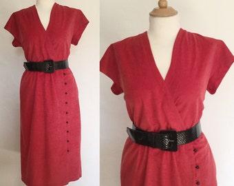 Vintage 70s / Red / Soft / V Neck / Short Sleeve / Secretary / Day Dress / Large