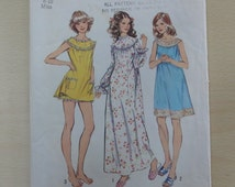 1972 Nightgown & Bloomers, Nightgown in 3 Lengths, Panties, Nightie- Vintage 70's Simplicity Sewing Pattern 5030- Miss Size Small Bust 31-32