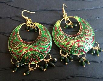 Green Enamel Earrings,ChandBali,Lotus Earrings Dangle Chandelier Red,Green& Gold Earrings Taneesi