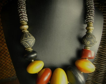 African Jewelry Tribal Necklace Copal Mali Clay Yellow Red Black Beaded