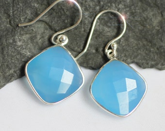 Sea Frost - Faceted Blue Chalcedony Sterling Silver Earrings