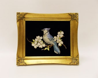 Paper Art Sculpture--- 3-D Blue Jay Paper Sculpture--- Mounted in Shadow Box Behind Glass