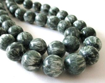 """Mix Green White Seraphinite Beads - Smooth Round Seraphinite Beads - Natural Serafinite - Semiprecious - 8"""" Strand - 12mm - DIY Jewelry"""