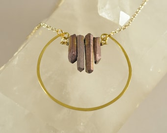 Quartz Crystal Necklace, Hammered Hoop, Gold Plated Cable Chain Necklace, Crystal Necklace, Handmade Jewelry, Jewelry For Women, Gift Idea