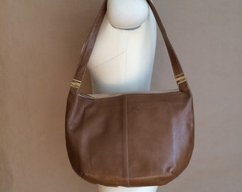 vintage 60's mod brown leather vintage handbag purse shoulder bag