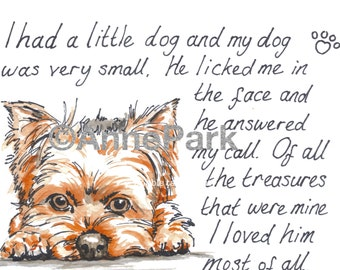 I Had A Little Dog..., Instant Download - Yorkshire Terrier, Yorkie