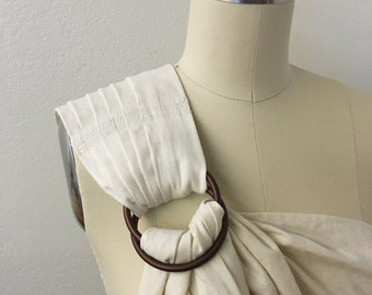 Linen baby wrap Ring sling baby carrier Ivory linen/rayon blend