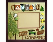 GONE CAMPING Pre-made Memory Album Page (Gallery Wood Shadow Box Frame Sold Separately)
