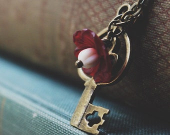Key and Flower Necklace