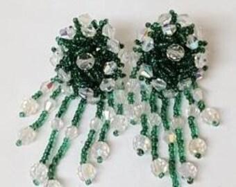 Emerald Green Beaded Crystal Cluster Chandelier Clip On Vintage Swarovski Earrings