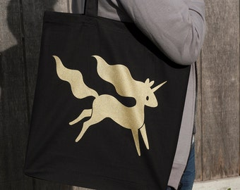 Unicorn Empire Tote Bag // Black and Gold Unicorn Tote Bag