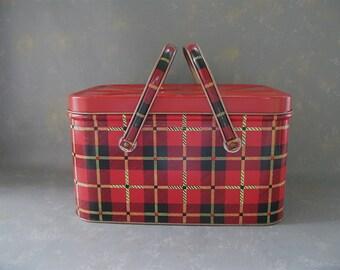 Vintage Metal Hamper, Basket, red, plaid, christmas