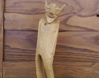 Vintage Handcarved Wood Figurine with Attitude and Personality