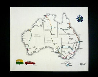 Travel embroidery the big trip by travelembroidery on etsy embroidery kit australia map and caravan fabric map to sew your trip and travel sciox Choice Image