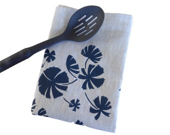 Linen Tea Towel Screen Printed Tea Towel Hand Printed Navy&Natural Australian Fan Palm