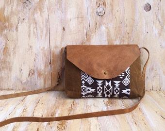 Southwest Crossbody Bag/ Waxed Canvas/ Genuine Leather