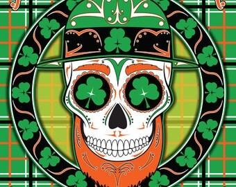 Leprechaun Sugar Skull 11x14 Print