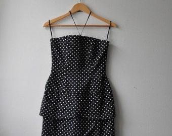 SHOP CLOSING SALE Vintage 1980s Black and White Polka Dot Wiggle Dress Tiered Tube Knee Length Halter